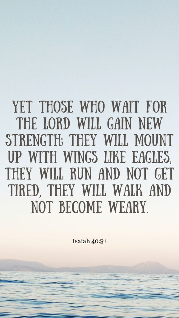 """Design of Bible quotes wallpaper with blue ocean background and the Bible verse Isaiah 40:31: """"Yet those who wait for the Lord will gain new strength; They will mount up with wings like eagles, they will run and not get tired, they will walk and not become weary."""""""